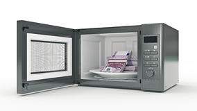 Microwave with money Royalty Free Stock Photos