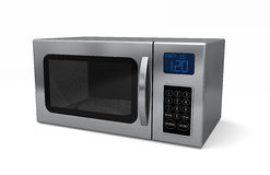 Microwave Oven. A closed microwave made of shiny metal isolated on a white background Stock Images