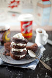 Microwave oven baked mug chocolate cake Royalty Free Stock Photos