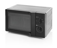 Microwave oven. Black microwave oven isolated on white stock image