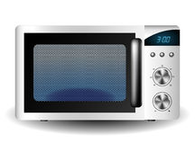 Microwave oven. With closed doors  on white Stock Images
