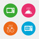 Microwave oven icon. Cooking food serving. Stock Images