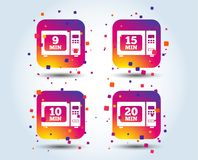 Microwave oven icons. Cook in electric stove. Microwave oven icons. Cook in electric stove symbols. Heat 9, 10, 15 and 20 minutes signs. Colour gradient square Royalty Free Illustration