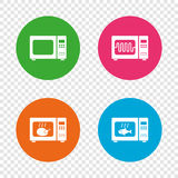 Microwave oven icons. Cook in electric stove. Microwave oven icons. Cook in electric stove symbols. Grill chicken and fish signs. Round buttons on transparent Royalty Free Stock Photo