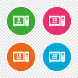 Microwave oven icons. Cook in electric stove. Microwave oven icons. Cook in electric stove symbols. Heat 9, 10, 15 and 20 minutes signs. Round buttons on Royalty Free Stock Image