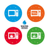 Microwave oven icons. Cook in electric stove Royalty Free Stock Images