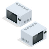 Microwave oven . Kitchen appliances for cooking and heating food. Flat 3d vector isometric illustration. Microwave oven . Kitchen appliances for cooking and vector illustration