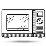 Microwave oven in line art style. Illustration on isolated background Stock Photos