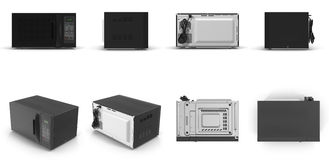 Microwave oven, modern design. renders set from different angles on a white. 3D illustration Royalty Free Stock Photos