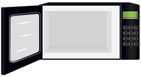 Microwave Oven with Open Door. A black microwave oven with its door open. You can easily place something inside Royalty Free Stock Photo