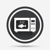 Microwave oven sign icon. Kitchen electric stove. Microwave oven sign icon. Grilled fish. Kitchen electric stove symbol. Circle flat button with shadow and Stock Photo
