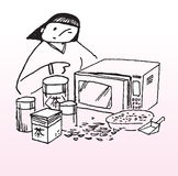 Microwave oven tutorial. Illustration of a woman using a microwave oven Stock Photos