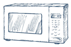 Microwave oven. Vector Sketch Stock Photo