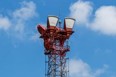 Microwave receive and transmission tower with wireless signal for telecommunications I stock image