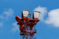 Microwave receive and transmission tower with wireless signal for telecommunications II stock photography
