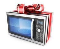 Microwave and red ribbon and bow Stock Photos