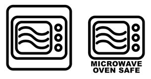 Microwave safe container icon. Simple black lines oven drawing w stock illustration