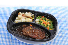 Microwave Steak Dinner Stock Photo