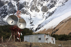 Microwave tower in mountains Royalty Free Stock Photo