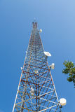 Microwave Tower Rising Into Blue Stock Images