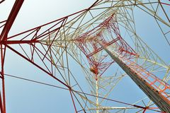 Microwave tower. Telecommunication tower for Microwave signals Stock Photo