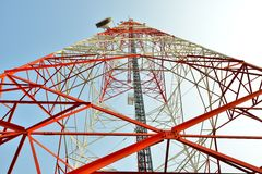 Microwave tower. Telecommunication tower for Microwave signals Royalty Free Stock Photography