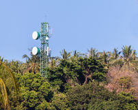 Microwave transceiver station on moutani Royalty Free Stock Photos