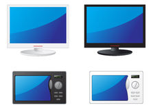 Microwave and TV. Modern black and white TV and microwave Royalty Free Stock Photo