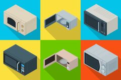 Microwave vector isometric set icon. Vector illustration kitchen oven on white background . Isolated isometric set icon