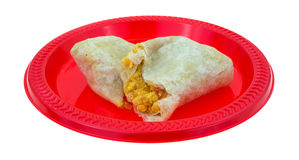 Microwaved Breakfast Burrito On Red Plate Stock Photo