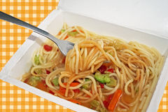 Microwaved meal of noodles, gravy and vegetables Royalty Free Stock Photo