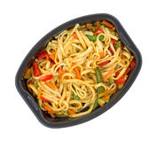 Microwaved TV dinner of noodles and vegetables Royalty Free Stock Photo