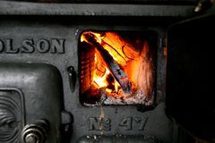 Before microwaves. Old stove royalty free stock images