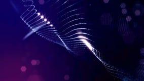 Microworld或纳诺技术蓝色背景 与焕发微粒的无缝的使成环的动画 真正摘要的科学幻想小说 股票录像