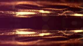 Microworld或纳诺技术金黄背景 与焕发微粒的无缝的使成环的动画 真正摘要的科学幻想小说 股票录像