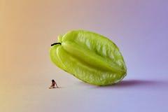 Microworld avec le chiffre de femme sous le fruit tropical de carambolier sur le fond rose vert Style de bande dessinée, photogra Photo libre de droits