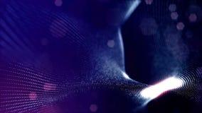 Microworld ou fond bleu de technologie nanoe Animation faite une boucle sans couture avec des particules de lueur La science fict clips vidéos