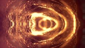 Microworld ou fond d'or de technologie nanoe Animation faite une boucle sans couture avec des particules de lueur La science fict banque de vidéos