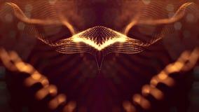 Microworld ou fond d'or de technologie nanoe Animation faite une boucle sans couture avec des particules de lueur La science fict illustration stock