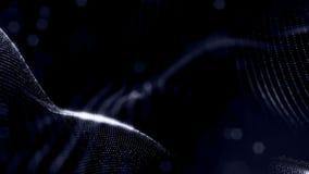 Microworld ou fond noir de technologie nanoe Animation faite une boucle sans couture avec des particules de lueur La science fict clips vidéos
