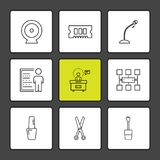 Micrphone , chip , target , network , technology , icons , elect. Ronics , icon, vector, design, flat, collection, style, creative, icons , hardware , - This royalty free illustration
