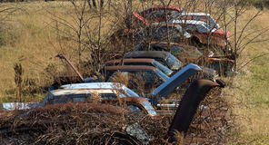 Mid 20th century rusted and abandoned automobiles Stock Image