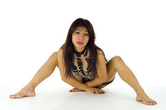 Mid adult asian posing in lingerie Stock Image