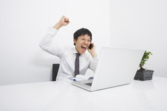 Mid adult businessman cheering on cell phone at desk in office Royalty Free Stock Images