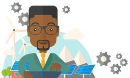 Mid adult male african engineer holding blueprint Stock Images