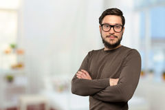 Mid adult man in glasses. Portrait of mid adult man in glasses stock images