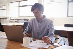 Mid-adult white man working in an office using laptop Royalty Free Stock Photos