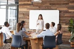 Mid adult woman giving a presentation to business colleagues Stock Images