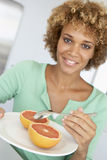 Mid Adult Woman Holding Plate With Healthy Foods Royalty Free Stock Photo