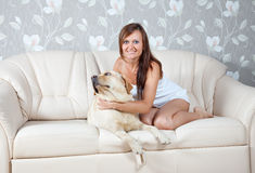Mid adult woman with  labrador Stock Photos